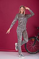 Женский осенний бархатный бежевый спортивный спортивный костюм HIT 3062 бежевый 44р.