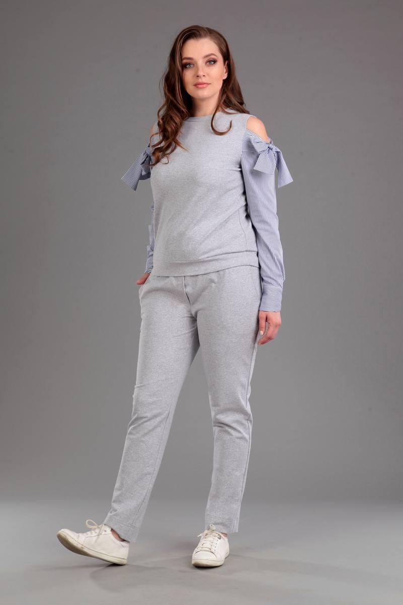 Женский осенний трикотажный серый спортивный спортивный костюм Liona Style 587 44р. - фото 1