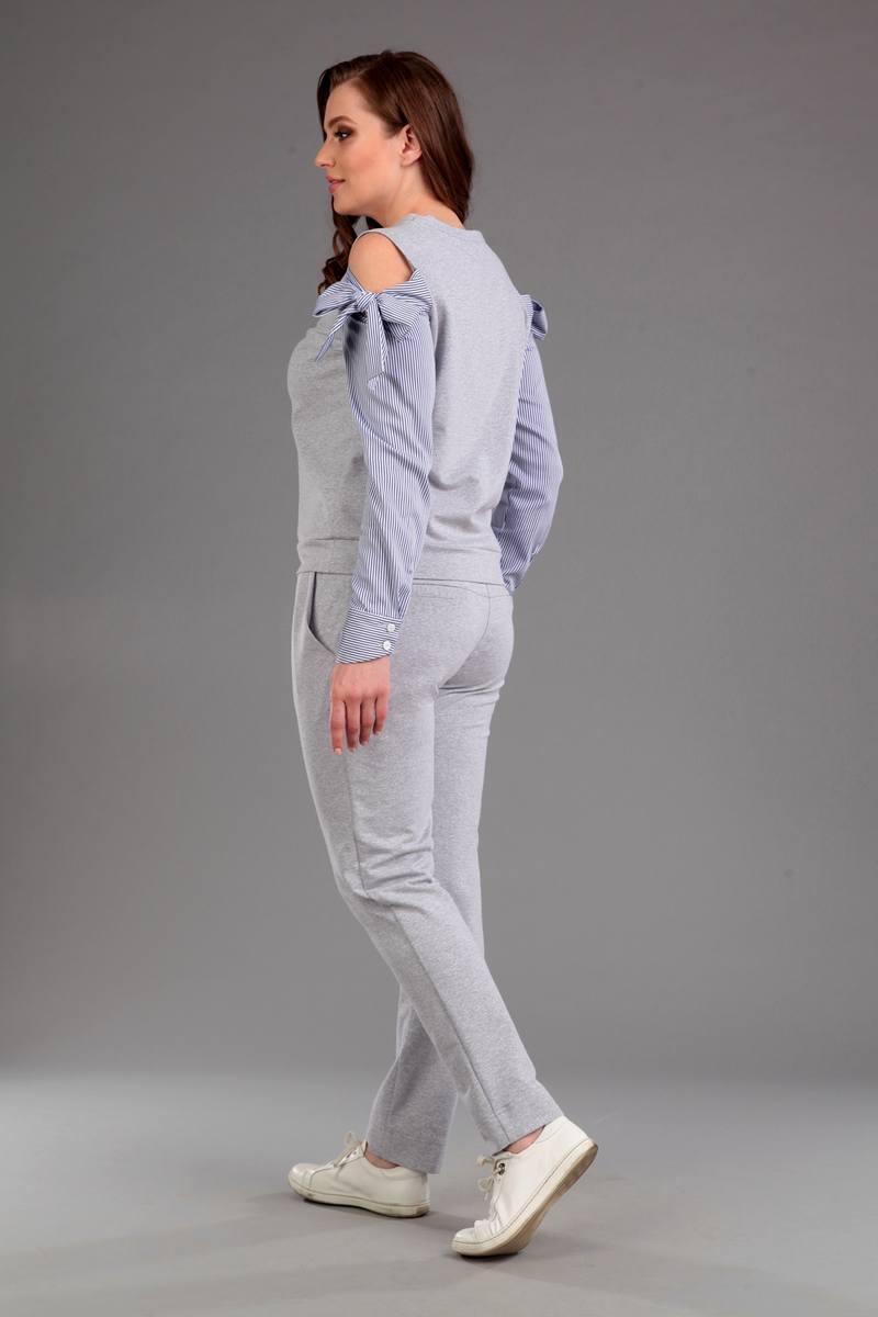 Женский осенний трикотажный серый спортивный спортивный костюм Liona Style 587 44р. - фото 2