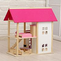 Домик деревянный для кукол с мебелью