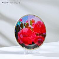 "Тарелка декоративная ""Розы"", с рисунком на холсте, D = 20 см"