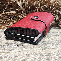Картхолдер держатель для карт и визиток с RFID защитой экокожа KH-327 бордовый