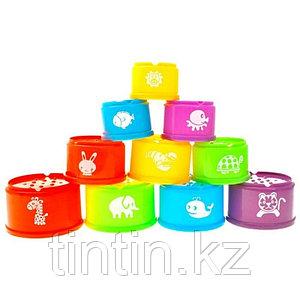 Набор цветных стаканчиков для пирамиды 10 штук