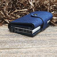 Картхолдер держатель для карт и визиток с RFID защитой экокожа KH-327 синий