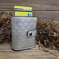 Картхолдер держатель для карт и визиток с RFID защитой экокожа KH-327 серебренный