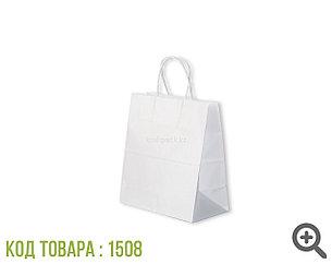 Бумажный крафт пакет ,белый с крученной ручкой 80гр 220*120*250 (250шт/уп)