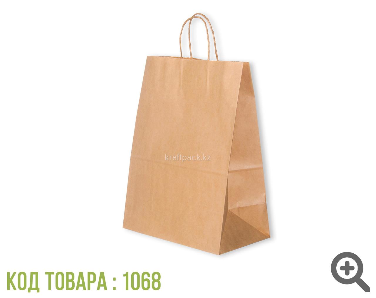 Бумажный пакет из крафт бумаги, бурый с ручкой 70гр 260*150*350 (200шт/уп)