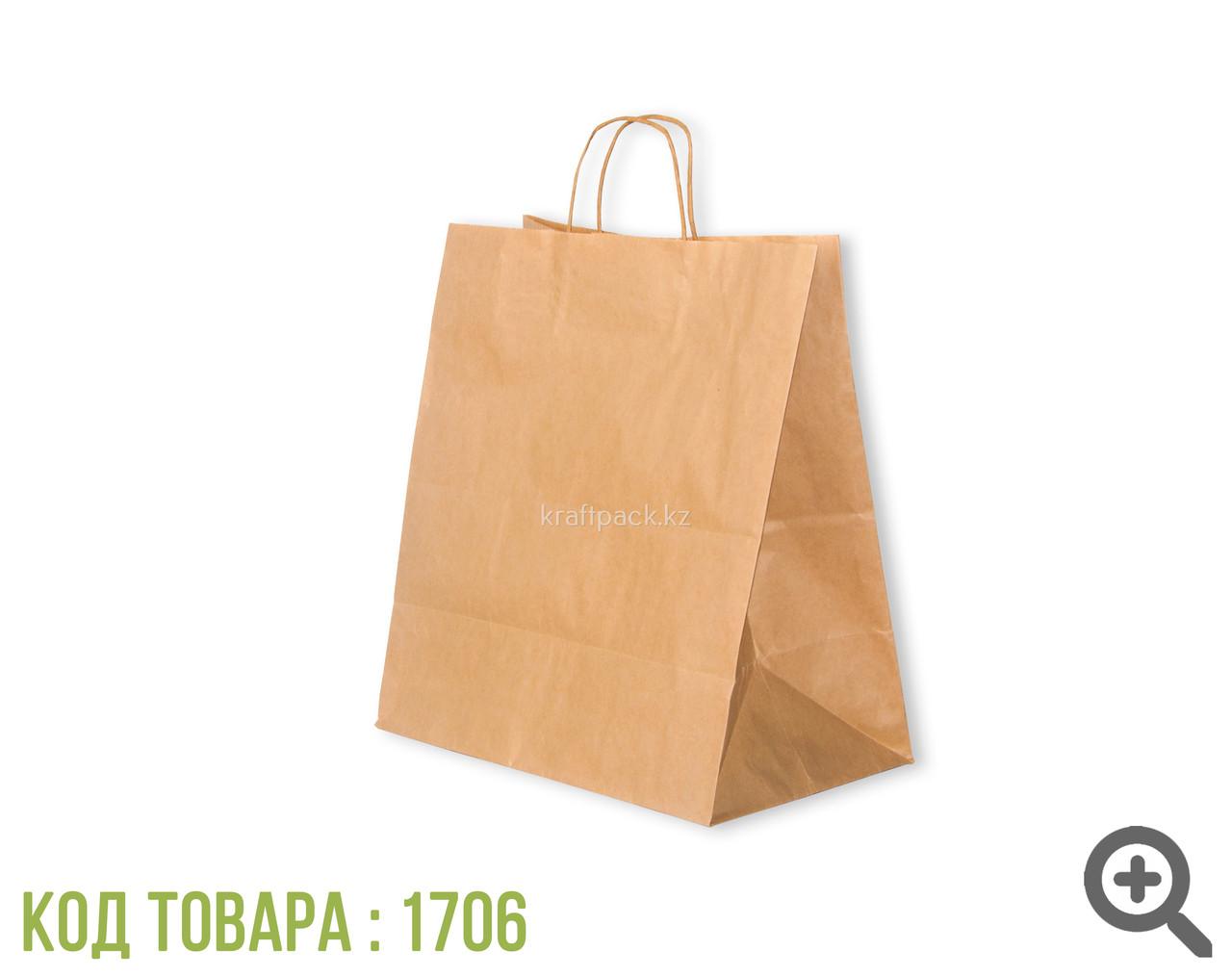 Бумажный пакет из крафт бумаги, бурый с ручкой 70гр 330*180*370 (200 шт/уп)