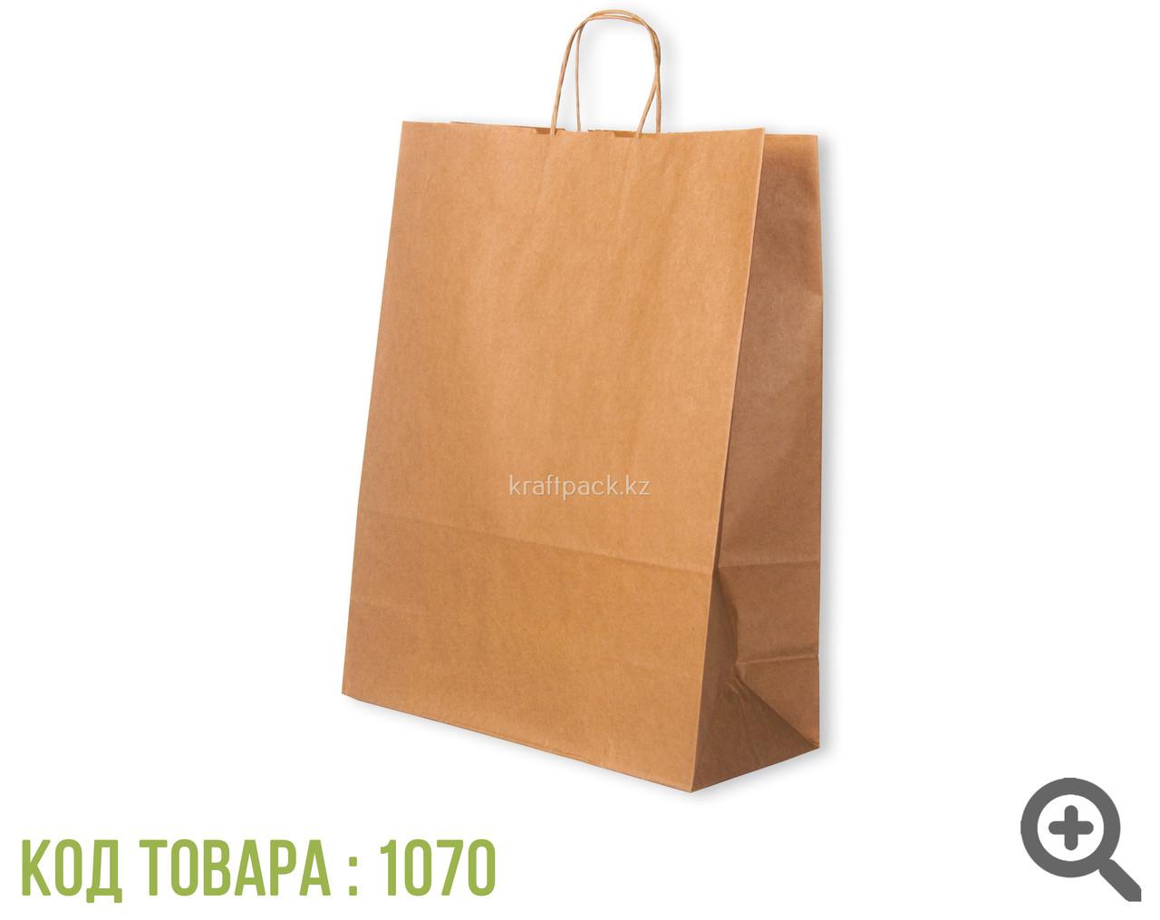 Бумажный пакет из крафт бумаги, бурый с ручкой 70гр 350*150*450 (150 шт/уп)