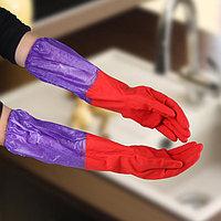 Перчатки хозяйственные резиновые с утеплителем, длинные манжеты, 110 гр.