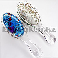 Массажная расческа 3D с металлическими зубцами Crystal comb с ракушками голубая