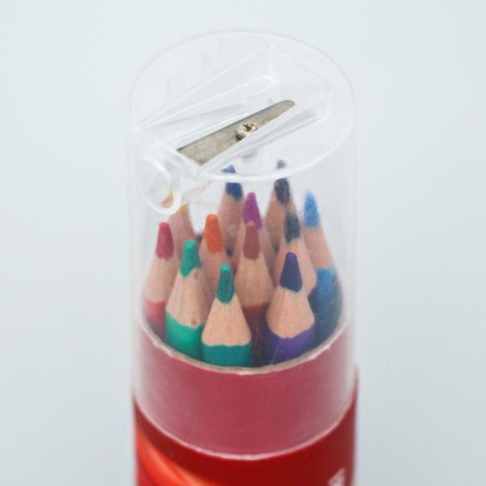 """Карандаши цветные с точилкой в тубусе МИНИ, 12 цветов,  """"Тачки"""", Тачки   5012656"""