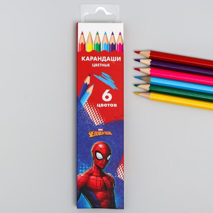 """Карандаши цветные, 6 цветов """"Супергерой"""", Человек-Паук   5012642"""