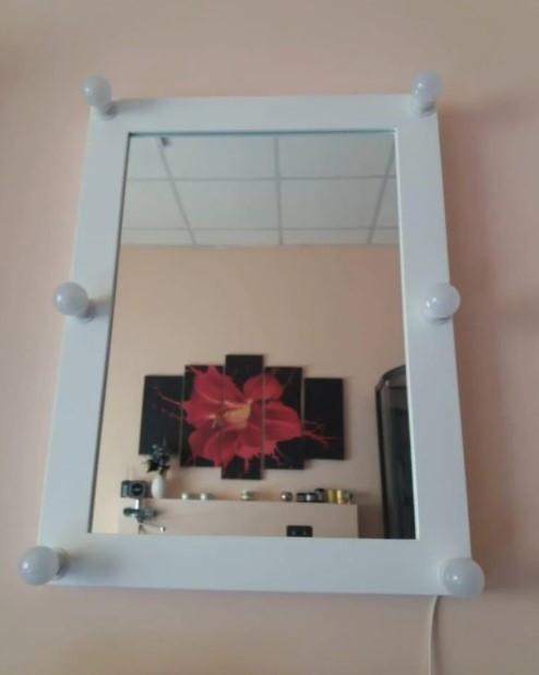 Прямоугольное гримерное зеркало в деревянной раме (МДФ) Dolce