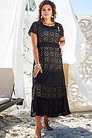 Женское летнее хлопковое черное нарядное большого размера платье Vittoria Queen 12773 52р.