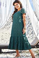 Женское летнее хлопковое зеленое нарядное большого размера платье Vittoria Queen 13703 52р.