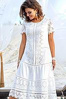 Женское летнее хлопковое белое нарядное большого размера платье Vittoria Queen 13743 52р.