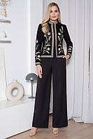 Женский осенний замшевый черный деловой нарядный деловой костюм Urs 21-557-1 42р.