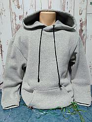 "Худи Х/Б, (р-р: 32) ""Fashion kid"", Россия, цвет: серый меланж"