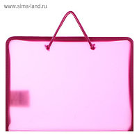 Папка, пластиковая, А5, 230 х 185 х 25 мм, молния вокруг, «Оникс», ПТ-112, «Офис», тонированная, цвет розовый