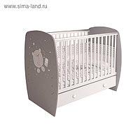 Кроватка детская Polini kids French 710, Teddy, с ящиком, цвет белый-серый
