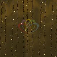 LED гирлянда Дождь - 2х6 метров, 1140 лампочек, желтый цвет, светит постоянно