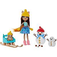 Набор Enchantimals Белка Шарлотта с питомцем Насти и снеговиком GNP16