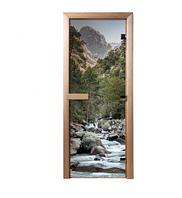 Дверь из стекла с фотопечатью Водопад