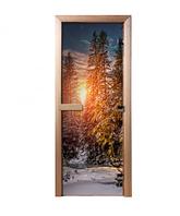 Дверь из стекла с фотопечатью Зимний лес