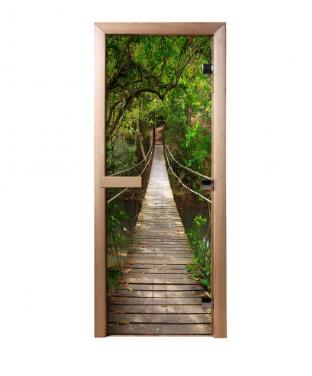 Дверь из стекла с фотопечатью Подвесной мост