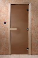 Стеклянная дверь для бани Теплая ночь 180*70