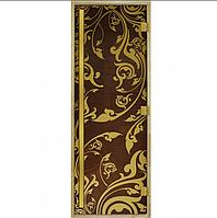 Стеклянная дверь для бани «Luxury» Золотая Венеция Бронза (190*70)
