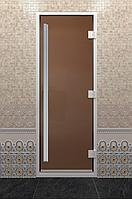 Стеклянная дверь для бани Хамам «Престиж» золото (190*70)