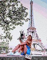 """Картина по номерам """"Девушка в Париже"""" 50*40"""