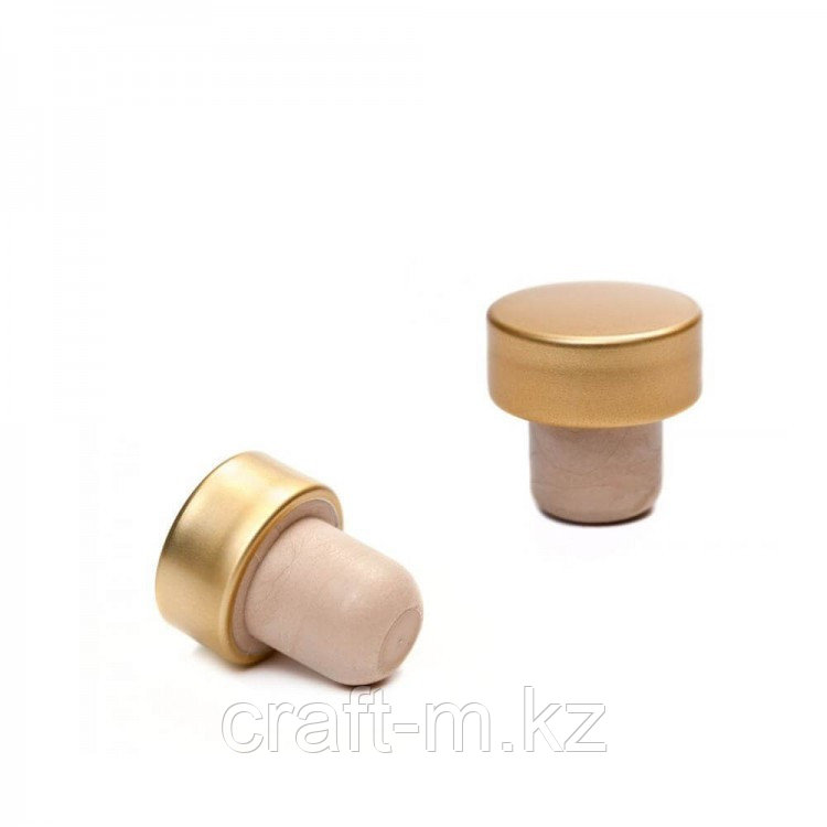 Пробки Т-образные полимерные с алюминиевой шапкой ЗОЛОТО 29x19, 25 шт