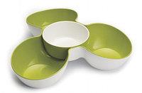 Блюдо для снека Triple Dish, белое/зеленое (Joseph Joseph, Англия)