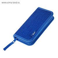 Пенал 1 секция, 90 х 190 мм, тканевый, «Оникс», ПКТ 02-41, цвет синий