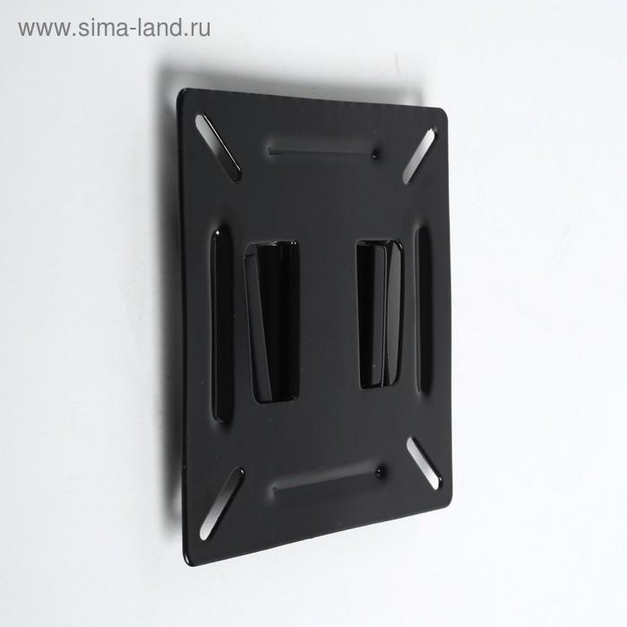 """Кронштейн LuazON KrON-66, для ТВ, фиксированный, 10-26"""", 10 мм от стены, чёрный - фото 1"""