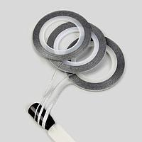 Ленты клеевые для декора «Блёстки», 3 шт, 1/2/3 мм, 18 м, цвет серебристый