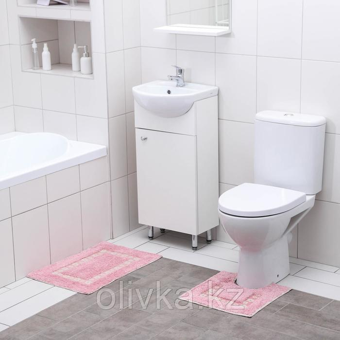 Набор ковриков для ванны и туалета Доляна «Цветы», 2 шт: 40×40, 40×60 см, 900 г/м2, 100% хлопок, цвет розовый