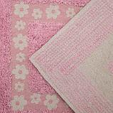 Набор ковриков для ванны и туалета Доляна «Цветы», 2 шт: 40×40, 40×60 см, 900 г/м2, 100% хлопок, цвет розовый, фото 3