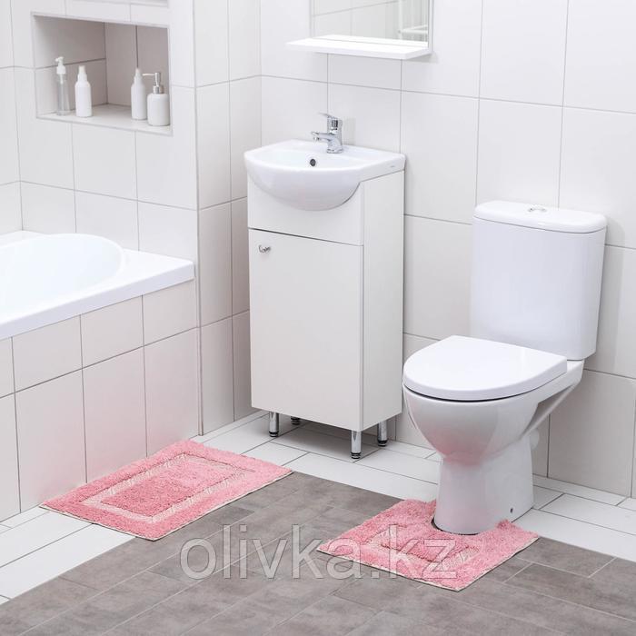 Набор ковриков для ванны и туалета Доляна «Вензель», 2 шт: 40×40, 40×60 см, 900 г/м2, 100% хлопок, цвет