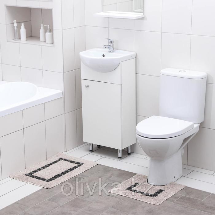 Набор ковриков для ванны и туалета Доляна «Кактус», 2 шт: 40×40, 40×6 см0, 900 г/м2, 100% хлопок, цвет бежевый