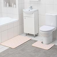Набор ковриков для ванны и туалета Доляна «Геометрик», 2 шт: 40×50, 50×80 см, цвет молочный