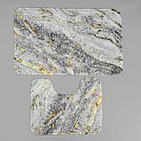 Набор ковриков для ванны и туалета Доляна «Мрамор», 2 шт: 79×50, 50×39 см, цвет серый, фото 5
