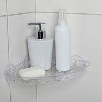 Полочка в ванную комнату угловая на присосках Bath Collection, 19×19×3 см, цвет МИКС