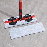 Швабра плоская Доляна, телескопическая стальная ручка 82-127 см, 2 насадки из микрофибры 37×12 см, фото 5