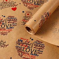 """Бумага упаковочная крафт """"Сердечки"""", 0,6 х 10 м, 40 г/м²"""