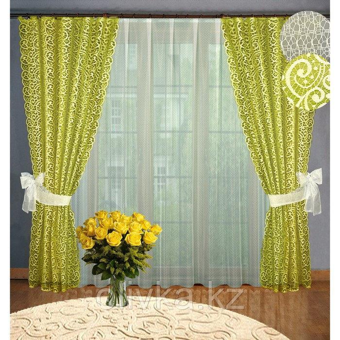 Комплект штор, размер 160 х 250 см - 2 шт, 250 х 300 см - 1 шт., цвет оливковый