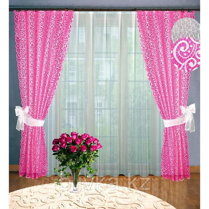 Комплект штор, размер 160 х 250 см - 2 шт, 250 х 300 см - 1 шт., цвет розовый